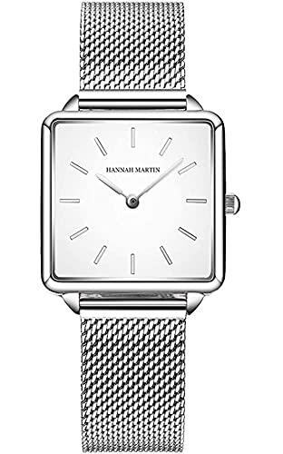QHG Relojes de Cuarzo Dial Square Dial Casual Business Acero Inoxidable Malla de Malla Reloj de Pulsera Rosa Oro/Plata (Color : White)