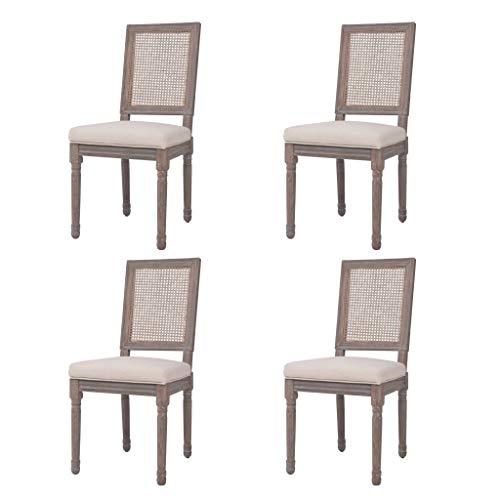 Namotu vidaXL Esszimmerstühle 4 STK. Leinen Rattan 47 x 58 x 98 cm Cremeweiß