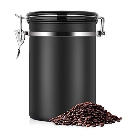 Kaffeedose, Kaffeedose Luftdicht, Kaffeedose Edelstahl, Kaffeebehälter Luftdichte Aromadose Vorratsdose Edelstahldose Vakuum Dose für Kaffeebohnen, Pulver, Tee, Nüsse, Kakao(Schwarz, 1.8 Liter)