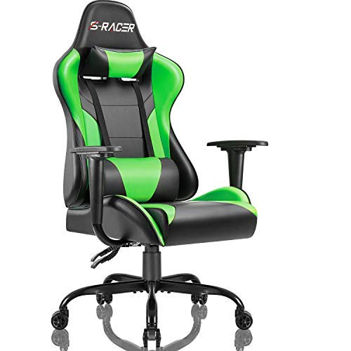 Homall Gaming Office Chair Computer Chair High Back Racing Desk Chair PU Leather Adjustable Seat Height Swivel Chair Ergonomic Executive Chair with Headrest for Adults (Green)