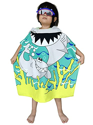 Kids Hooded Poncho Towel with Bright Shark for Bath Pool Beach Times, Soft Quick Drying Microfiber