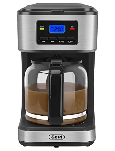 Coffee Maker 12 Cups ,Gevi Programmable Drip Coffee Maker with Coffee Pot, Anti-Drip Design, 1.8 Liter Glass Carafe