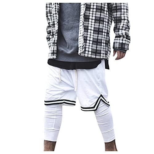 GenericBrands Taurner Pantalones Cortos Deportivos de Gimnasio Shorts de Rayas con Bolsillos Cremallera Pantalón Corto de Baloncesto para Hombre
