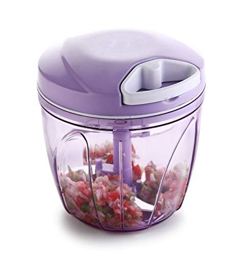 kreyam's Chopper-900ml for Kitchen,Vegetable Cutter,Vegetable Grater Mixer for Kitchen with 5 Stainless Steel + Whisker Blade (Purple)
