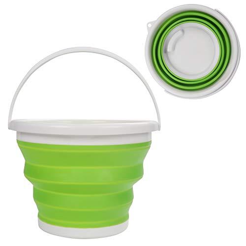 Zusammenklappbarer Faltbarer Wassereimer - 10litre Grün Silikon Kunststoff Mehrzweckeimer mit Tragegriff - Großer Faltbarer Kübel zum Angeln, Camping, Rucksacktour und Autowaschen