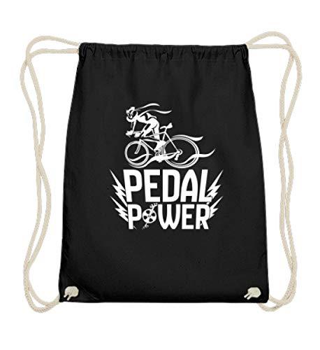 EBENBLATT Lustig Pedal Power Fahrrad Bicycle e-bike Bike MTB Geschenk für Mountainbiker Fahrer - Baumwoll Gymsac -37cm-46cm-Schwarz