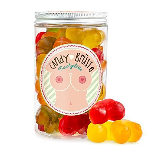 Candy Brüste – 300 Gramm Fruchtgummi Brüste in einer Geschenkdose, bunte Fruchtgummis in Form von Brüsten, lustiges Geschenk für einen JGA, 18. Geburtstag und Mädelsabend