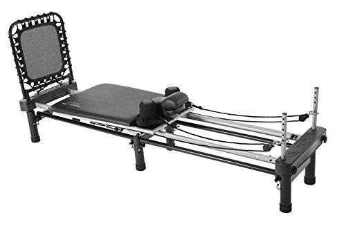 AeroPilates Premier w/Stand, Cardio Rebounder, Neck Pillow & DVDs | Access to 4 Free Guided Online Workouts Included | Stream from Any Device, Black Upholstery, Gold Frame, One Size (55-4700)