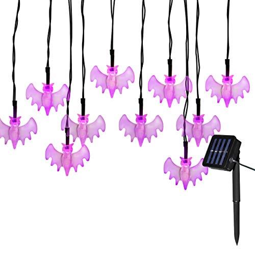 Yasolote Halloween Deko mit Gespenst, Solar Lichterkette 4,8m 30 LED 8 Modi (rosa)