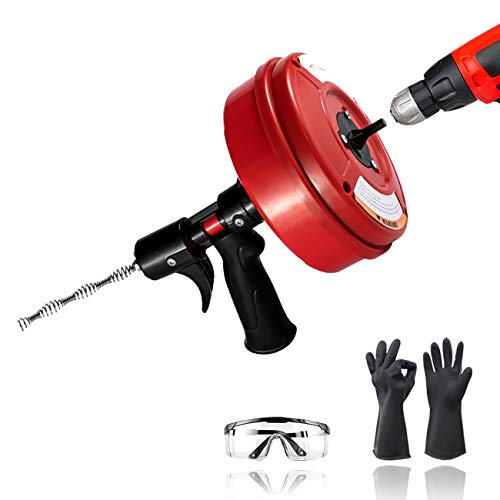 Drain Auger 30 Feet, Plumbing Snake with Drill Attachment, Sink Snake with Glasses/Work Glove, Drain Clog Remover for Sink Drain/Gutter/Bathtub/Sewer by Oosofitt
