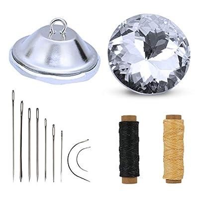 Lo que obtendrá: Hay 50 botones de diamantes de imitación de cristal, 2 cables de hilo encerado de cuero y 1 juego de agujas de coser para tapicería en el kit de botones de cristal decorativos. El rico kit de botones de tapicería de cristal puede sat...