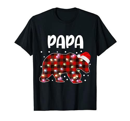 Red Plaid Papa Bear Matching Buffalo Pajama T-Shirt