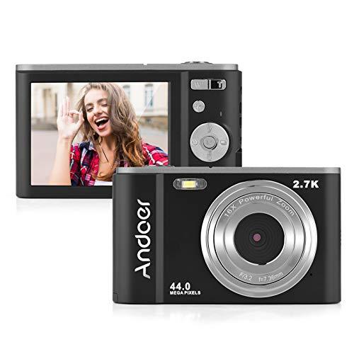 Andoer Mini cámara digital de 44 MP 2,7 K pantalla IPS de 2,7 pulgadas, zoom 16X, temporizador automático de 128 GB, memoria extendida, 2 baterías con correa de mano, bolsa de transporte para Navidad