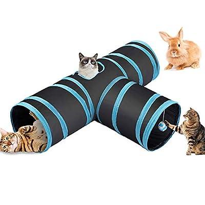 Fhodigogo Cat Tunnel Rabbit Tunnel Toy Rabbit Toys Kitten Tunnel 3 Way Cat Pop-up Tunnel, Foldable Tunnel Toy for Kitten, CAT,Hamster,Rabbits,Small Dogs