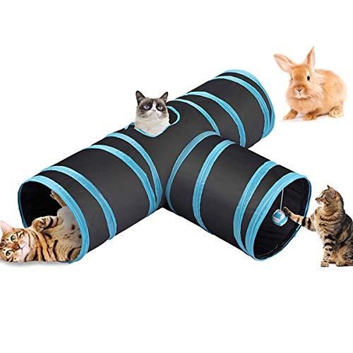Fhodigogo Tunnel per Gatti Tunnel Gatti Tunnel Animali 3 Vie Pieghevole Tunnel per Cani per Gatti, Cuccioli, Conigli, porcellini d'India, Uso Interno ed Esterno (02)