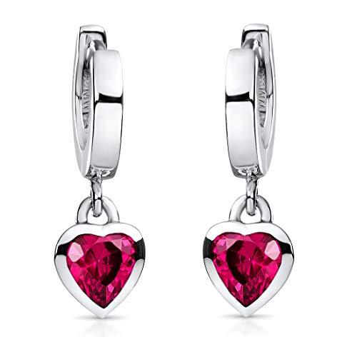 Materia Kinderohrringe Herz Silber 925 - Mädchen Creolen mit Zirkonia Herzen pink nickelfrei Geschenk-Etui so-389-rot