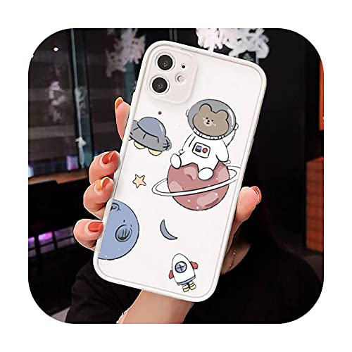 Astronaut Planet lindo dibujos animados teléfono casos mate transparente para iphone 7 8 11 12 plus mini x xs xr pro max lujo marca cover-a3-iPhone12pro
