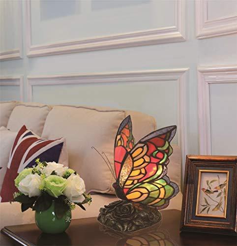 Creativo Decorativo Europeo Vintage Pastoral Mariposa Colorida Hecha A Mano Lámpara de Mesa Lámpara de Escritorio Lámpara de Escritorio Lámpara de Dormitorio