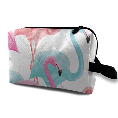 Flamingo Pink and Blue Watercolor Cosmetic Beauty Bag Cosmetic Makeup Bag Waterproof Women Girl