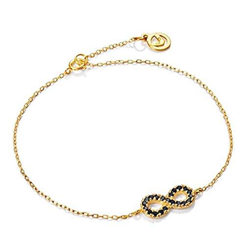 Viceroy Pulsera Jewels Infinito Plata IP Oro Y CIRCONITAS Negras 18cm
