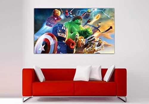 Cuadro Lienzo Vengadores Superheroes Avengers - Lienzo de Tela Bastidor de Madera de 3 cm - Fabricado en España - Impresión en Alta resolución – Varias Medidas (80, 44)