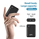Portable Phone Charger 10000mAh Quick Charge 2.4 A Power Bank External Battery Packs Dual Ports with LCD Display Powerpack Compatible for iPhone Huawei iPad Samsung Galaxy Nintendo Switch (Black)