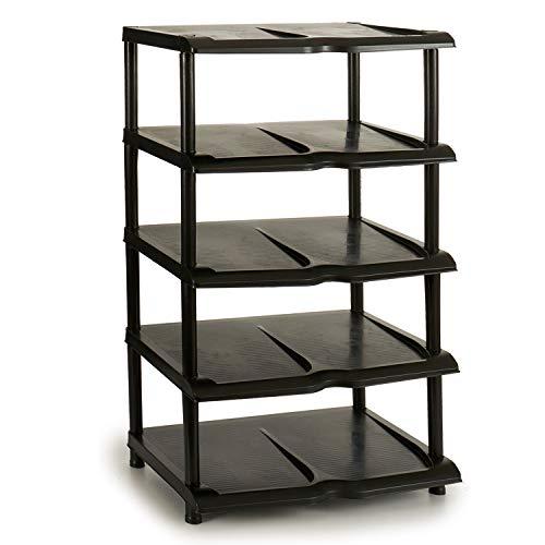 TU TENDENCIA ÚNICA Zapatero Estantería Apilable de Plástico. Desmontable. 5 Alturas. Capacidad para 10 Pares de Zapatos (Negro)