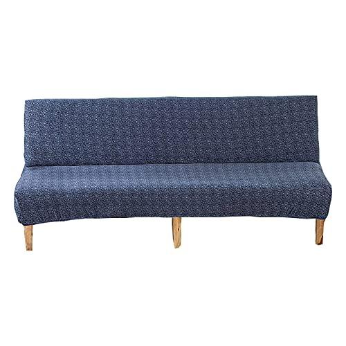 Funda de sofá futón sin brazos, funda de sofá cama plegable de gran elasticidad para 3 plazas, protector de muebles de tamaño completo, lavable, antipolvo, antirrayas, sin reposabrazos, azul