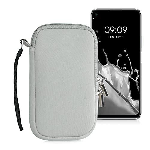 kwmobile Custodia in Neoprene con Zip per Smartphone L - 6,5' - Astuccio portacellulare a Sacchetto con Cerniera - Borsa Verticale - Grigio Chiaro