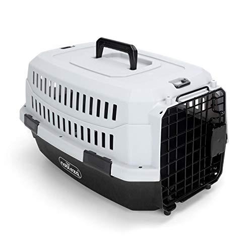 Nobleza - Transportín para Gatos Perros, Transportín de plástico L 68x48x42CM, transportador de Mascotas para Perros/Gatos/Avión Negro & Gris