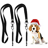 Dog Whistle to Stop Barking, Professional Silent Dog Training Whistle for Recall, Adjustable Frequency Ultrasonic Sound Training Tool Silent Bark Control- 2 Packs Dog Whistle with 2 Free Lanyard Strap