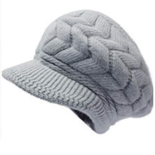 SYAYA Women Winter Warm Knit Hat Wool Snow Ski Caps with Visor DMZ01 (Gray)