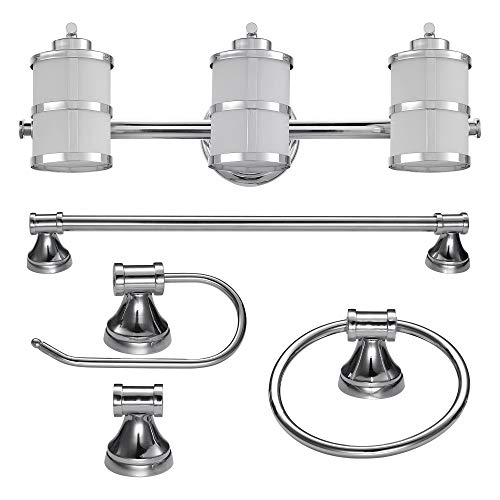 Globe Electric 51285 Kennewick 5-Piece All-In-One Bath Set, Chrome, 3-Light Vanity, Bar, Towel Ring, Toilet Paper Holder, Robe Hook,Polished Finish, 6.88