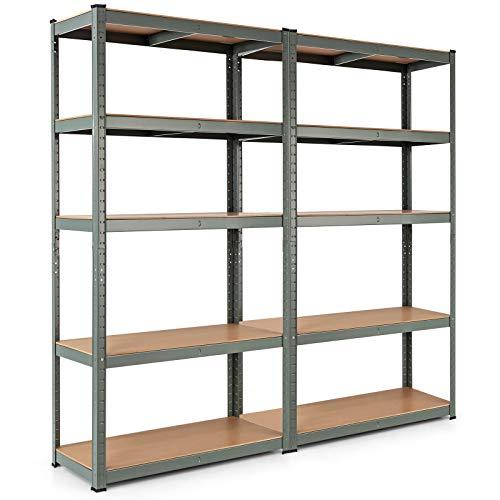 Tangkula Metal Storage Shelves Heavy Duty Steel Frame 5-Tier Organizer High Weight Capacity with Adjustable Shelves Multi-Use Storage Rack for Home Office GarageStorage Metal Shelf 2 Grey