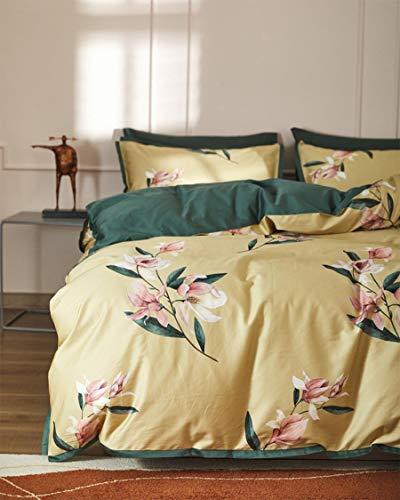 GZWD Traditionelles Bettwäsche-Set für Mädchen, King-Size-Bett, 60er-Jahre-Stil, Baumwolle, mit Blumenmuster, Gelb / Rosa