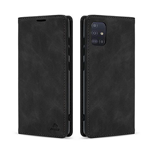 AFARER Einfache Art Brieftasche Handyhülle Kompatibel mit Samsung Galaxy A71 - Schwarz