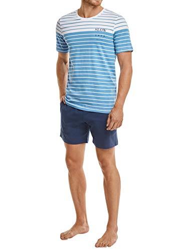 Marc O´Polo Body&Beach Herren T-Shirt Und Shorts Bekleidungsset , Blau (Atlantikblau 899), Large (Herstellergröße L)