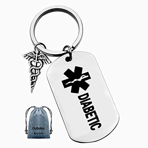 Diabetic Keychain for Men Women Girl Boy diabetic,Medical Alert Keychain Diabetic Charm and Warning Charm Diabetic Health Symbol Sign Diabetes Emergency Key Chain