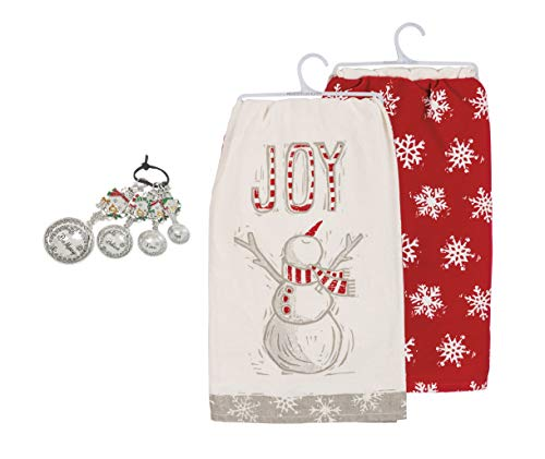 Winter Snowman Kitchen Accessory Bundle, Ganz Measuring Spoons and Primitives by Kathy Kitchen Towels