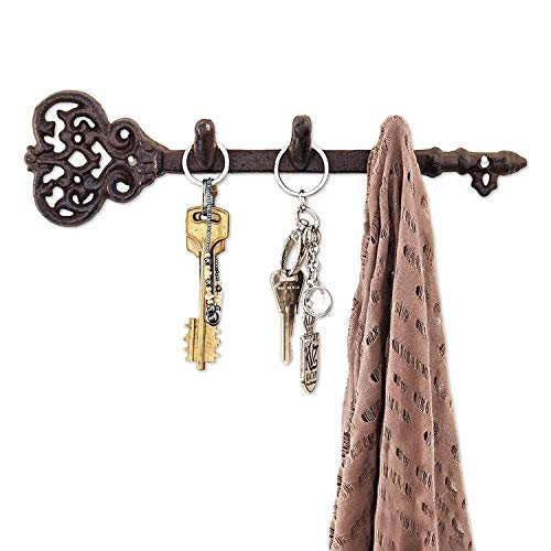"Comfify Decorative Wall Mounted Key Holder - Vintage Key with 3 Hooks - Wall Mounted - Rustic Cast Iron - 11 x 2.8""- with Screws and Anchors (Rust Brown)"