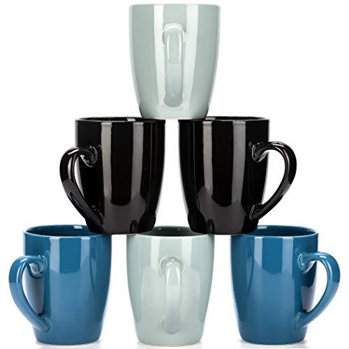 LVKH Blue Coffee Mug Set - Hand Made Stoneware Ceramic - (12.5 oz, 6 pieces)