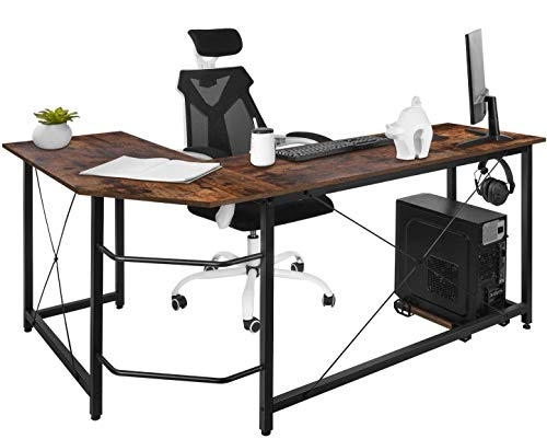 DAWOO L-Shaped Desk-Wood Computer Corner Desk,Home Gaming Desk, Writing Studying PC Laptop Workstation Table for Home Office Bedroom,Easy to Assemble,140X50X75cm(Rustic Brown)