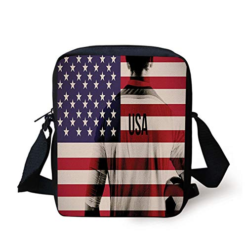Soccer Kids Crossbody Messenger Bag Purse,Composite Double Exposure Image of a Soccer Player and american Flag Usa Run,Cross Body Bags boys Girls 3D Printed Shoulder Bag,Beige Blue Red