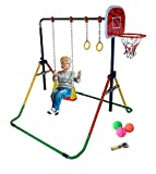 Kids Jungle Gymnastics Expandable 4 in 1 Junior Training Monkey Bars Climbing Tower Child Play Training Gym Colorful