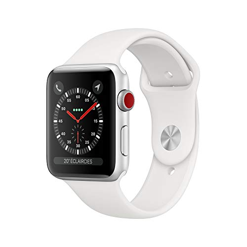 AppleWatch Series3 (GPS+Cellular), 42mm Aluminiumgehäuse, Silber, mit Sportarmband, Weiß