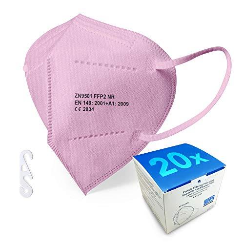 Rosa FFP2 Maske - Schachtel à 20 Stück - EU CE Zertifiziert, mit verstellbarem Gummiband und anpassbarem Nasenbügel| 5 Filtrationsschichten, Schützt drinnen und draußen