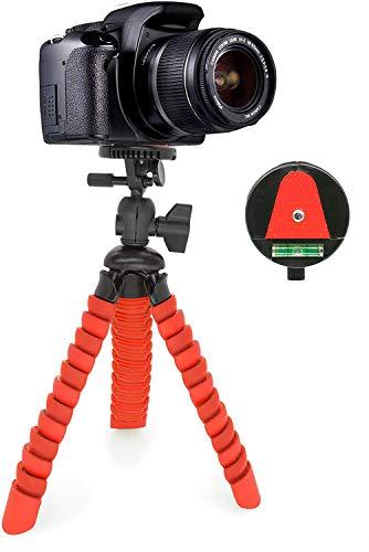 MyGadget Mini Trípode Flexible para Cámara Reflex - Soporte Portatíl Pulpo con Liberación Rápida de Placa - Montaje Universal 360° Pequeño - Rojo