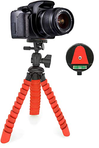 MyGadget Dreibein Kamera Stativ - Klein & Flexibel - Universal Reise Tripod mit Kugelkopf - Gelenke Kamerastativ für z.B. Canon, Nokia, Sony - Rot