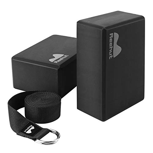 REEHUT Yoga Block 2er Yoga Blocks und Yoga Gurt Yoga Blöcke Fitness Block 2 Pack aus Eva-Schaumfür Yoga, Pilates,Fitnesstraining, Yoga-Training - Schwarz