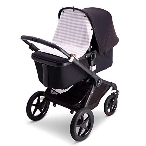 Baby Wallaby Sonnenverdeck für die Meisten Kinderwagen, skandinavisches Design, Universelle Passform, Schadstofffrei, 52x57 cm, Sonnenschutz, Sonnensegel(Grau/Weiß Gestreift)
